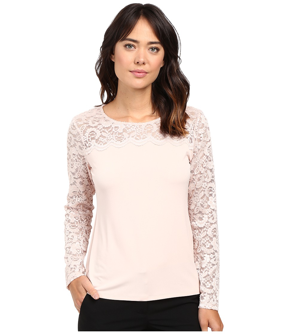 Calvin Klein - Long Sleeve Top with Lace Yoke and Sleeve (Blush) Women's Long Sleeve Pullover