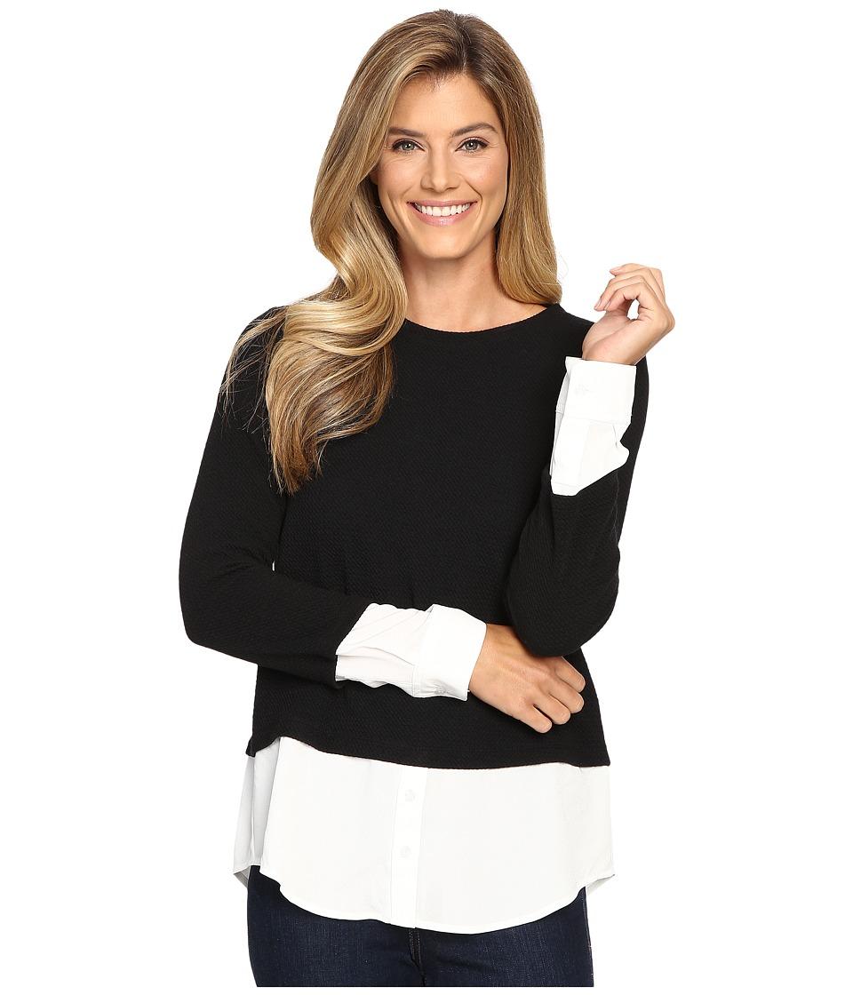 Calvin Klein - Textured Twofer Blouse (Black) Women's Blouse