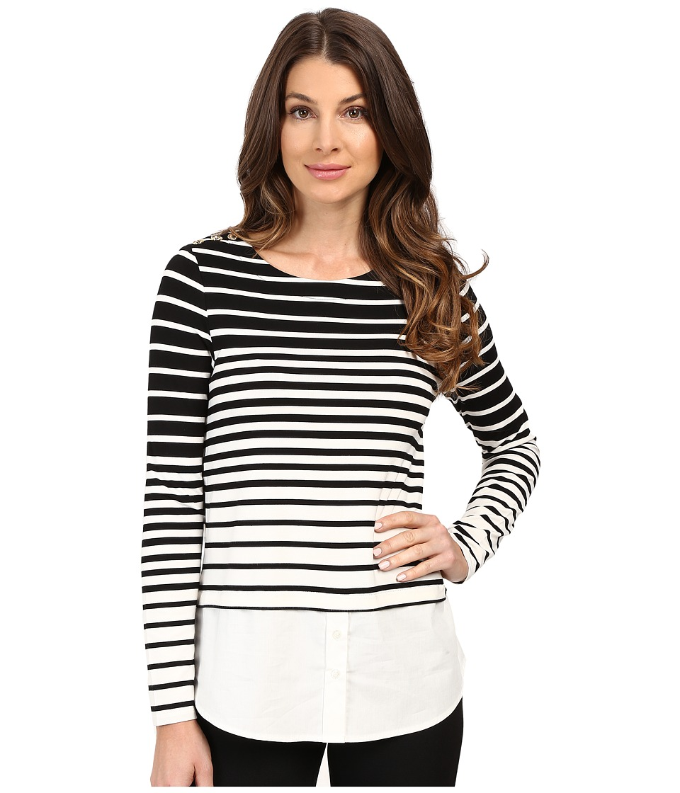 Calvin Klein - Variegated Stripe Twofer Top (Black/White) Women's Blouse