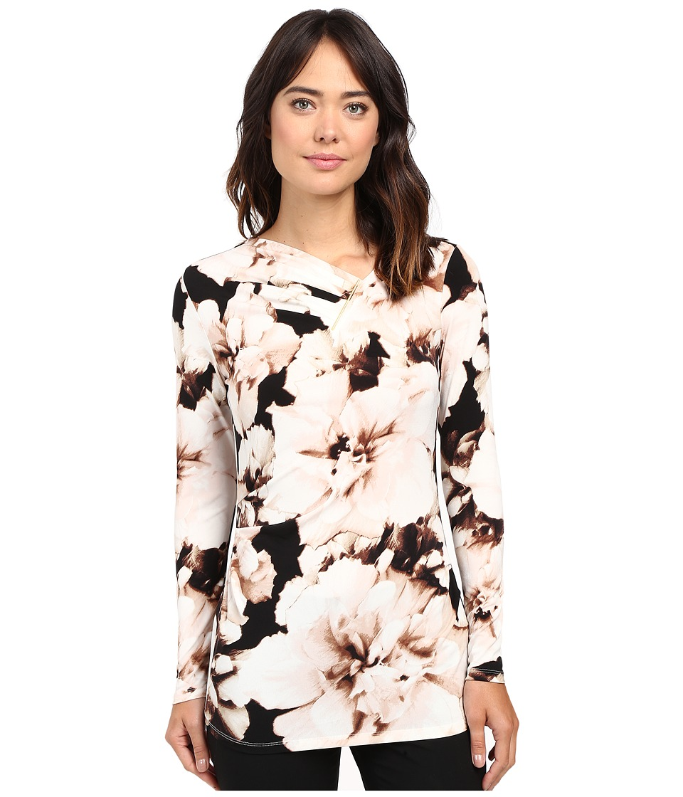 Calvin Klein - Printed V-Neck Top w/ Bar Hardware (Latte Multi) Women's Blouse