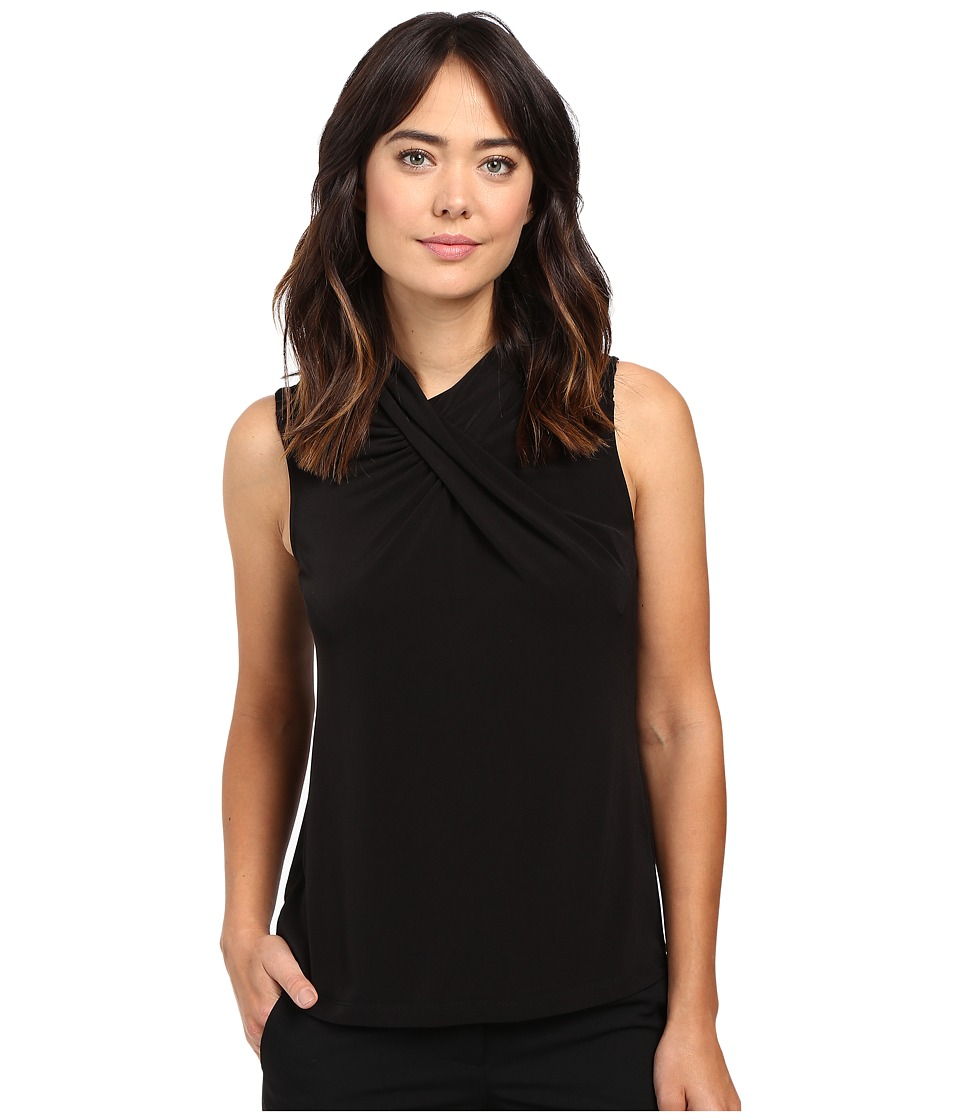 Calvin Klein - Sleeveless Top w/ Lace Yoke (Black) Women's Sleeveless