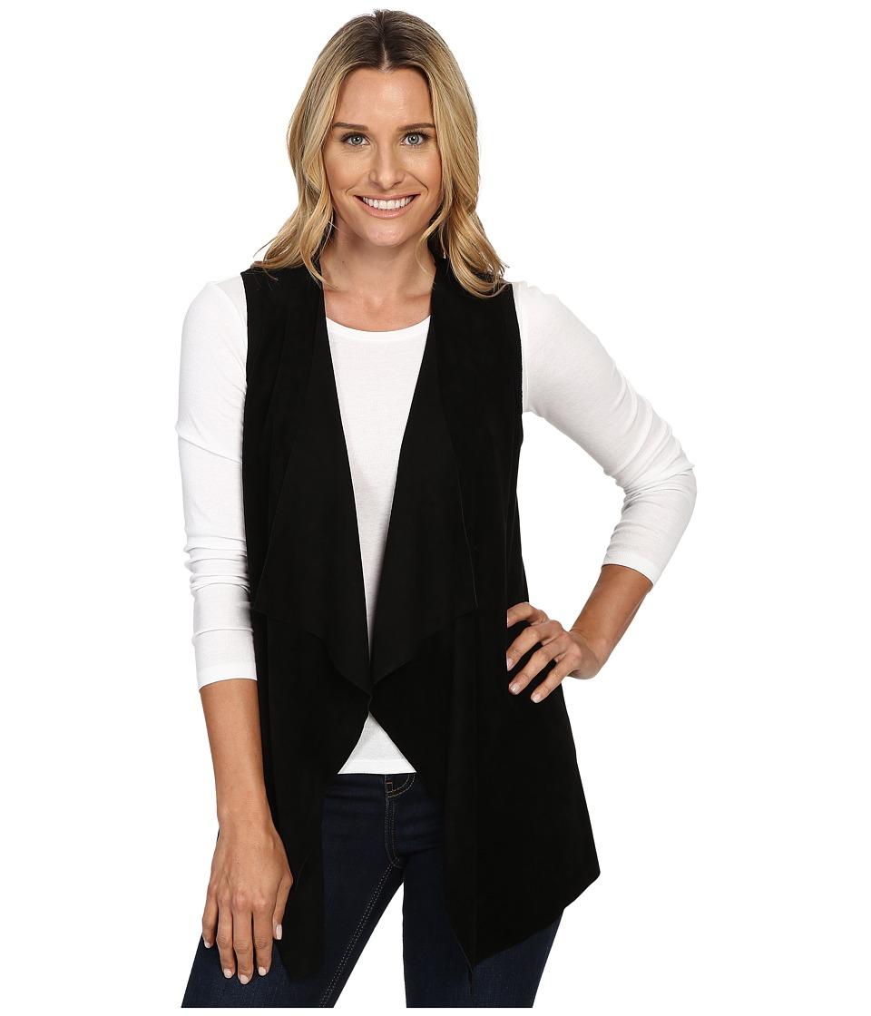 Calvin Klein - Vest w/ Suede Drape (Black) Women's Vest