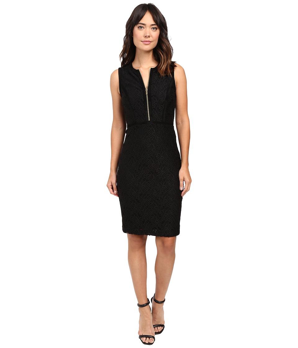 Calvin Klein Lace Sheath Dress w/ Zipper (Black) Women