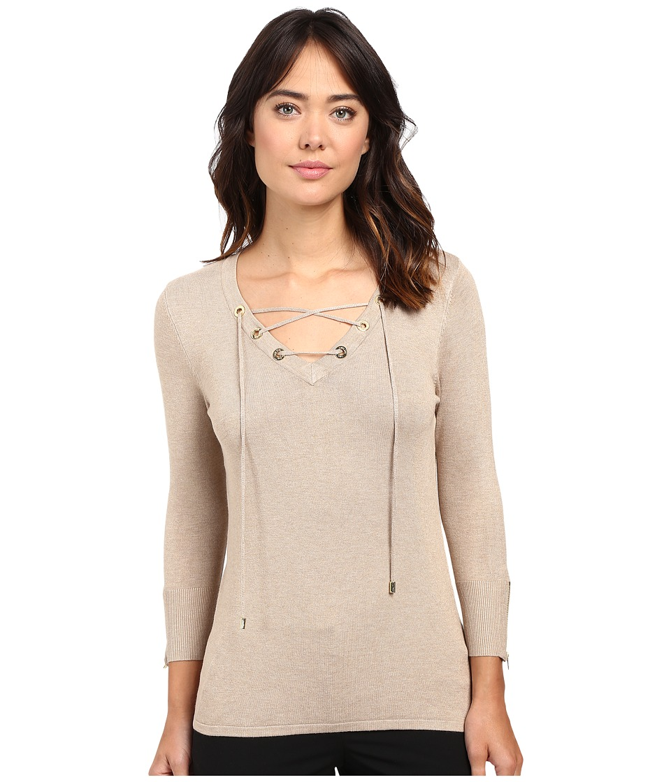 Calvin Klein - Fine Gauge Lace-Up Sweater (Heather Latte) Women's Sweater