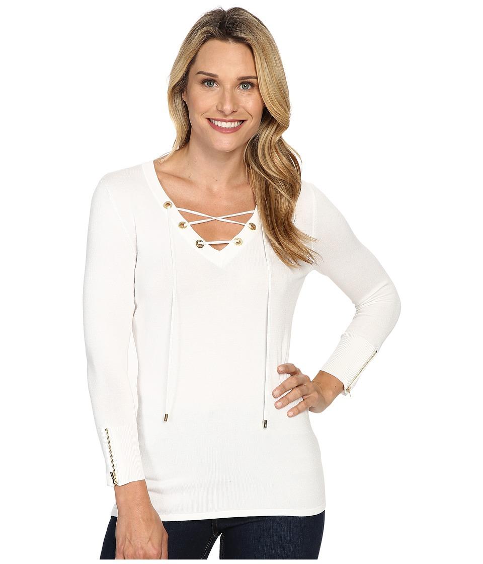 Calvin Klein Fine Gauge Lace-Up Sweater (Soft White) Women