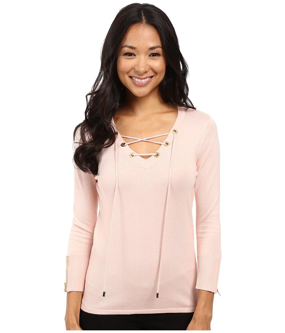 Calvin Klein - Fine Gauge Lace-Up Sweater (Blush) Women's Sweater