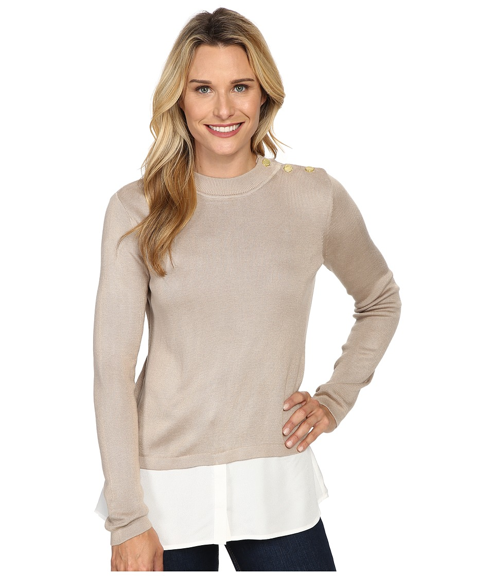 Calvin Klein - Twofer Top w/ Buttons at Shoulder (Latte) Women's Sweater