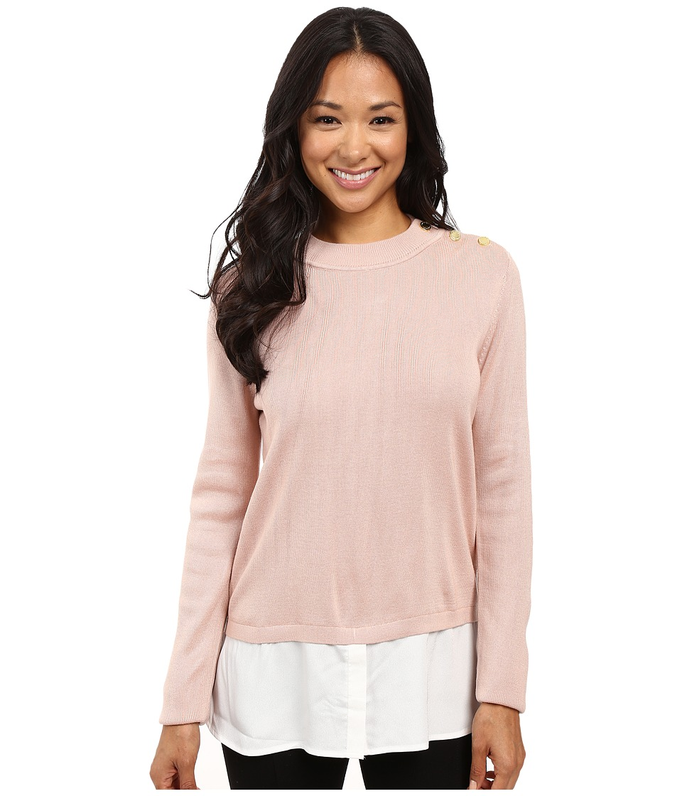Calvin Klein - Twofer Top w/ Buttons at Shoulder (Blush) Women's Sweater