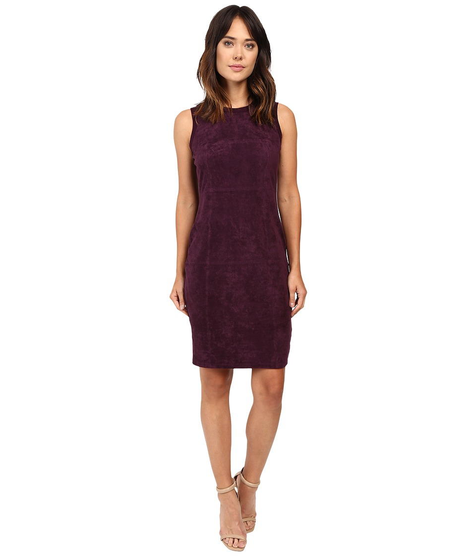 Calvin Klein Sweater Dress w/ Suede Front (Aubergine) Women
