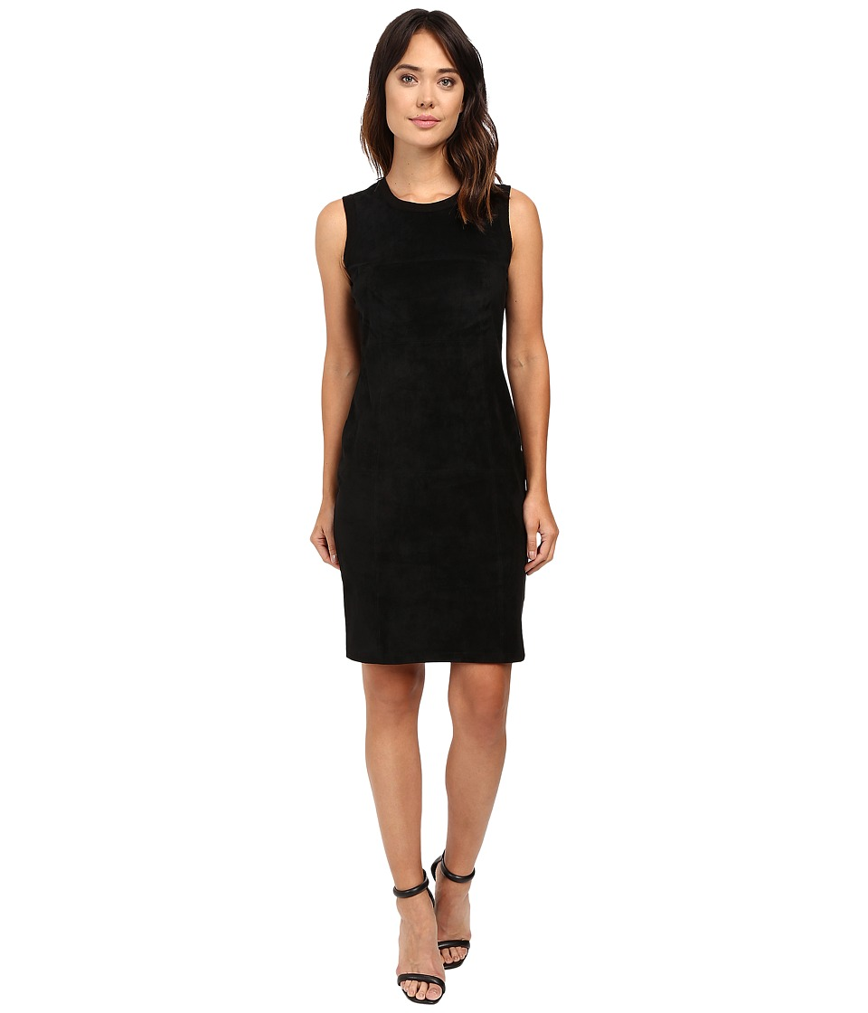 Calvin Klein Sweater Dress w/ Suede Front (Black) Women