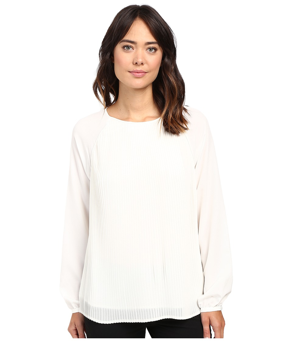 Calvin Klein - All Over Pleated Blouse (Soft White) Women's Blouse