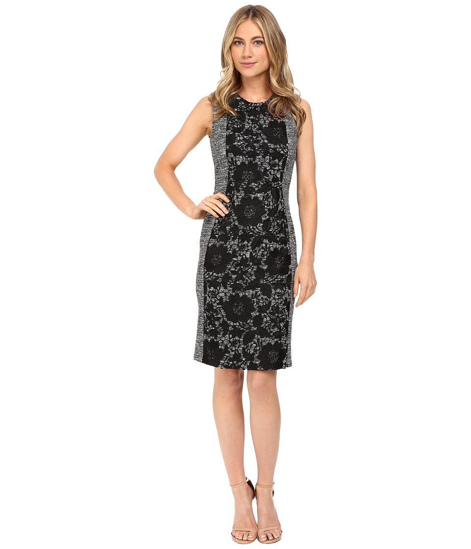 Calvin Klein Boucle Sheath Dress w/ Lace (Black) Women