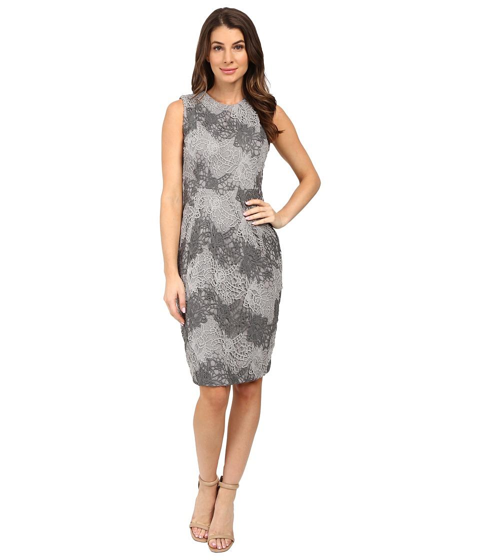 Calvin Klein - Color Blocked Lace Sheath Dress (Grey Combo) Women's Dress