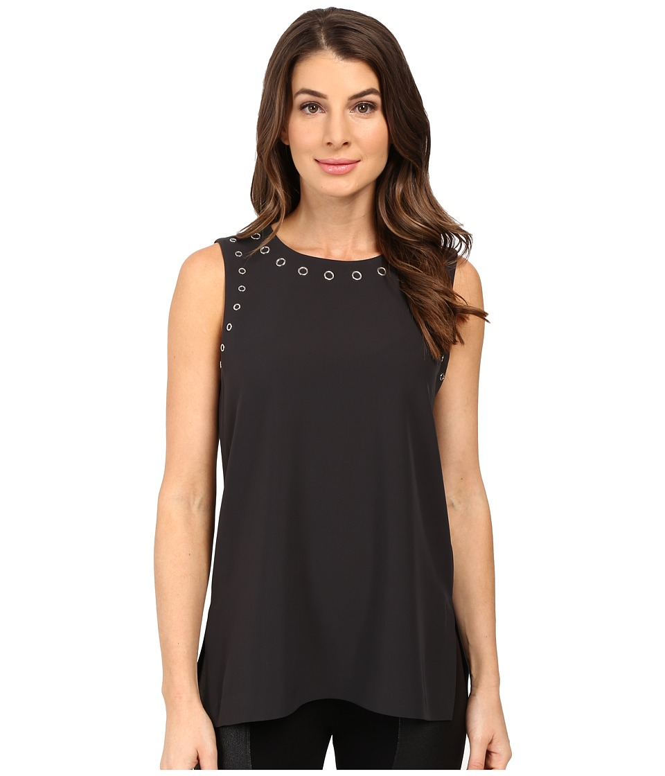 Calvin Klein - Sleeveless Top w/ Grommets (Charcoal) Women's Sleeveless