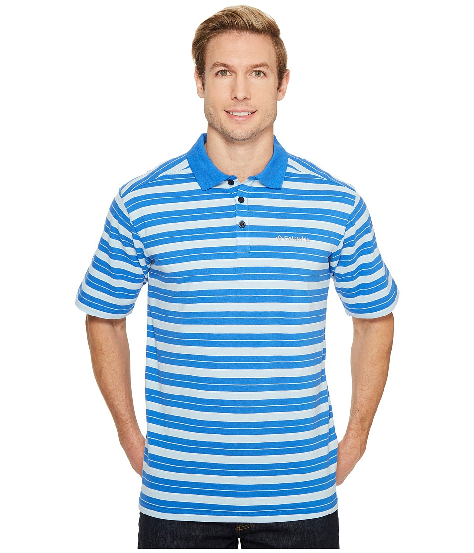 Columbia - Elm Creek Polo Stripe (Stormy Blue Large Stripe) Men's Clothing