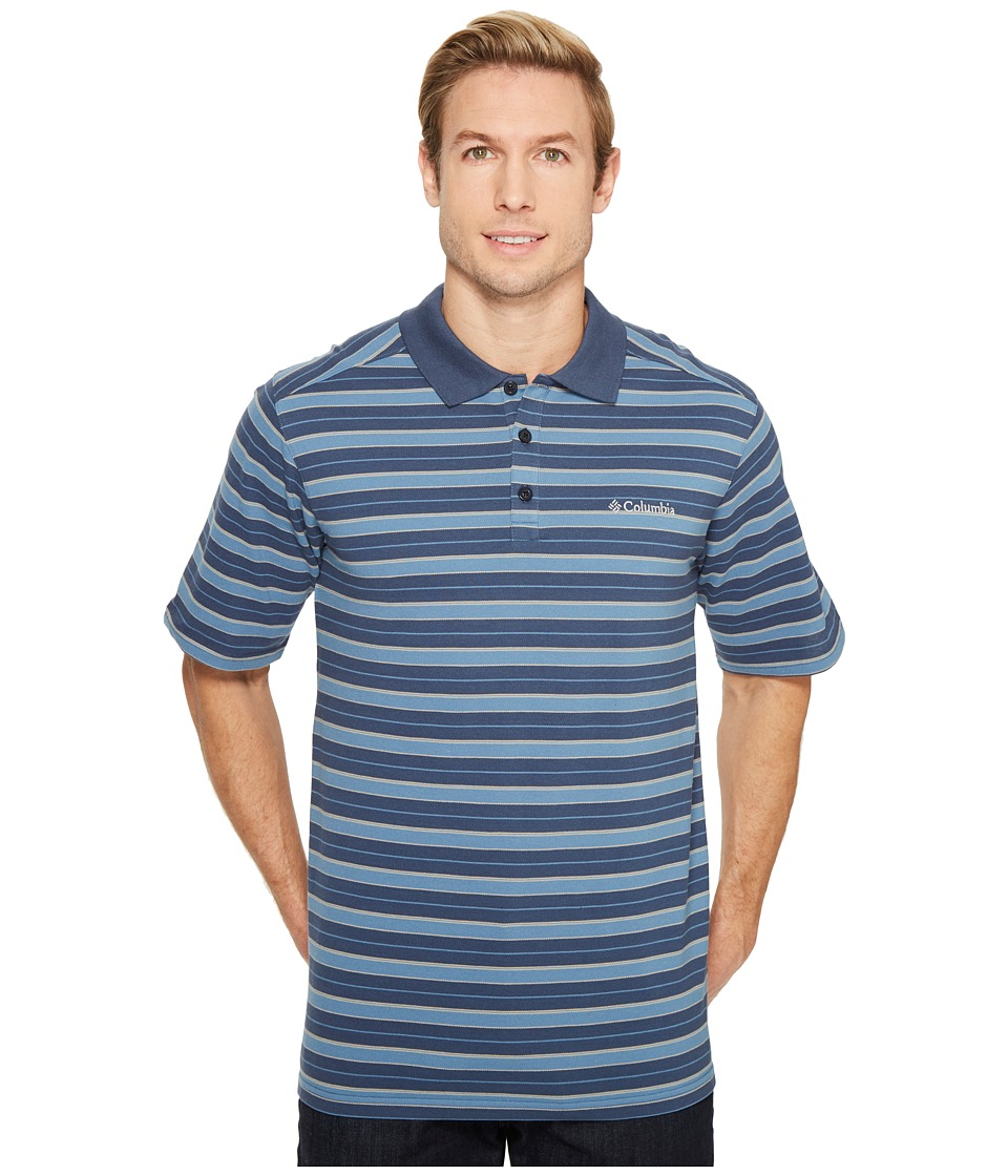 Columbia - Elm Creek Polo Stripe (Zinc Large Stripe) Men's Clothing