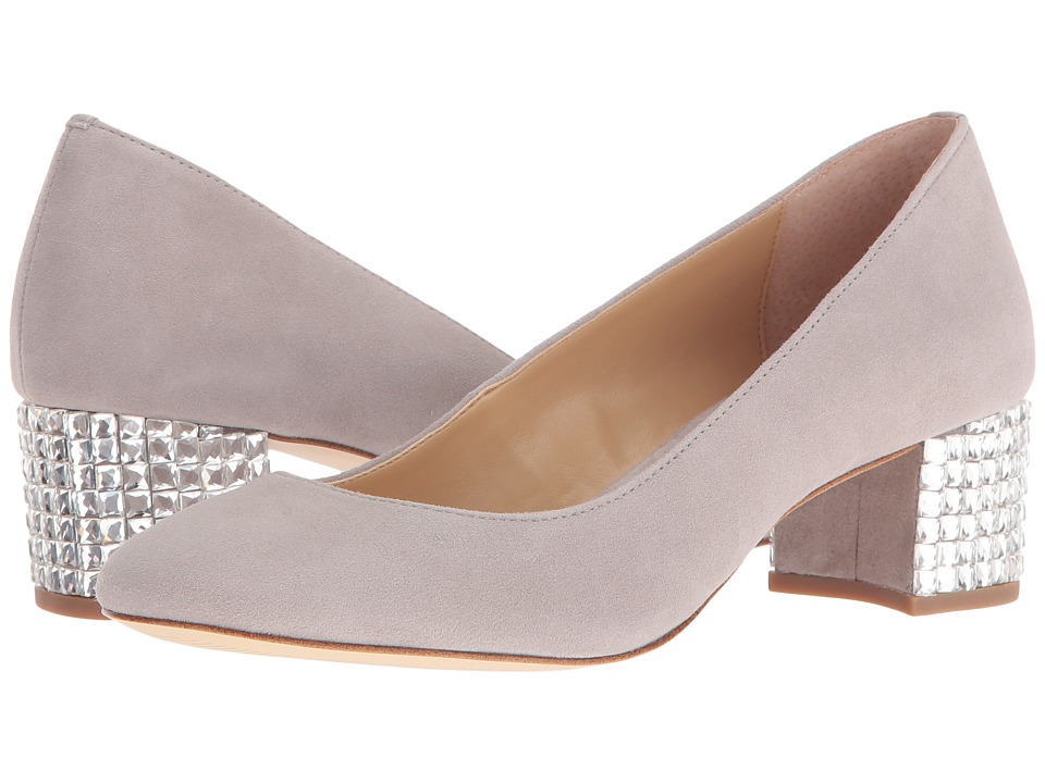 MICHAEL Michael Kors - Arabella Kitten Pump (Pearl Grey Kid Suede/Crystal) Women's Slip on Shoes