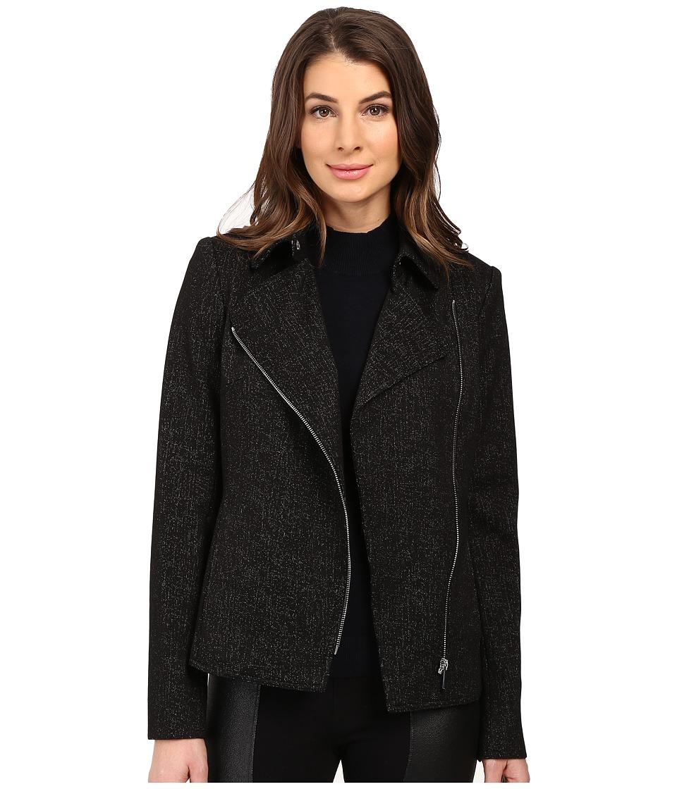 Calvin Klein - Spackled Compression Moto Jacket (Black) Women's Coat