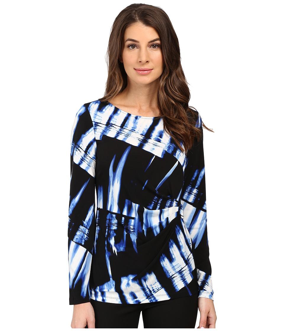 Calvin Klein - Long Sleeve Printed Top w/ Hardware (Celestial/Black Multi) Women's Blouse
