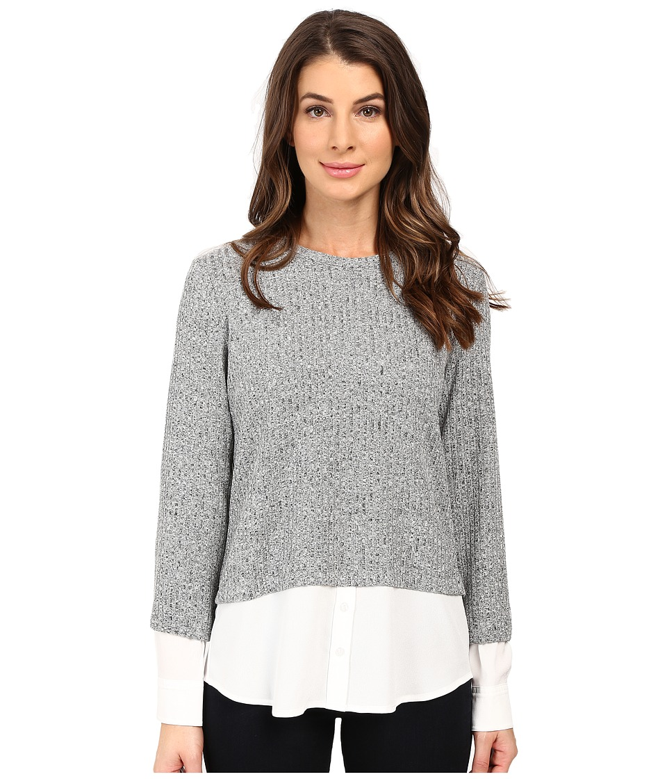 Calvin Klein - Long Sleeve Marled Twofer Top (Black/Soft White Multi 2) Women's Blouse