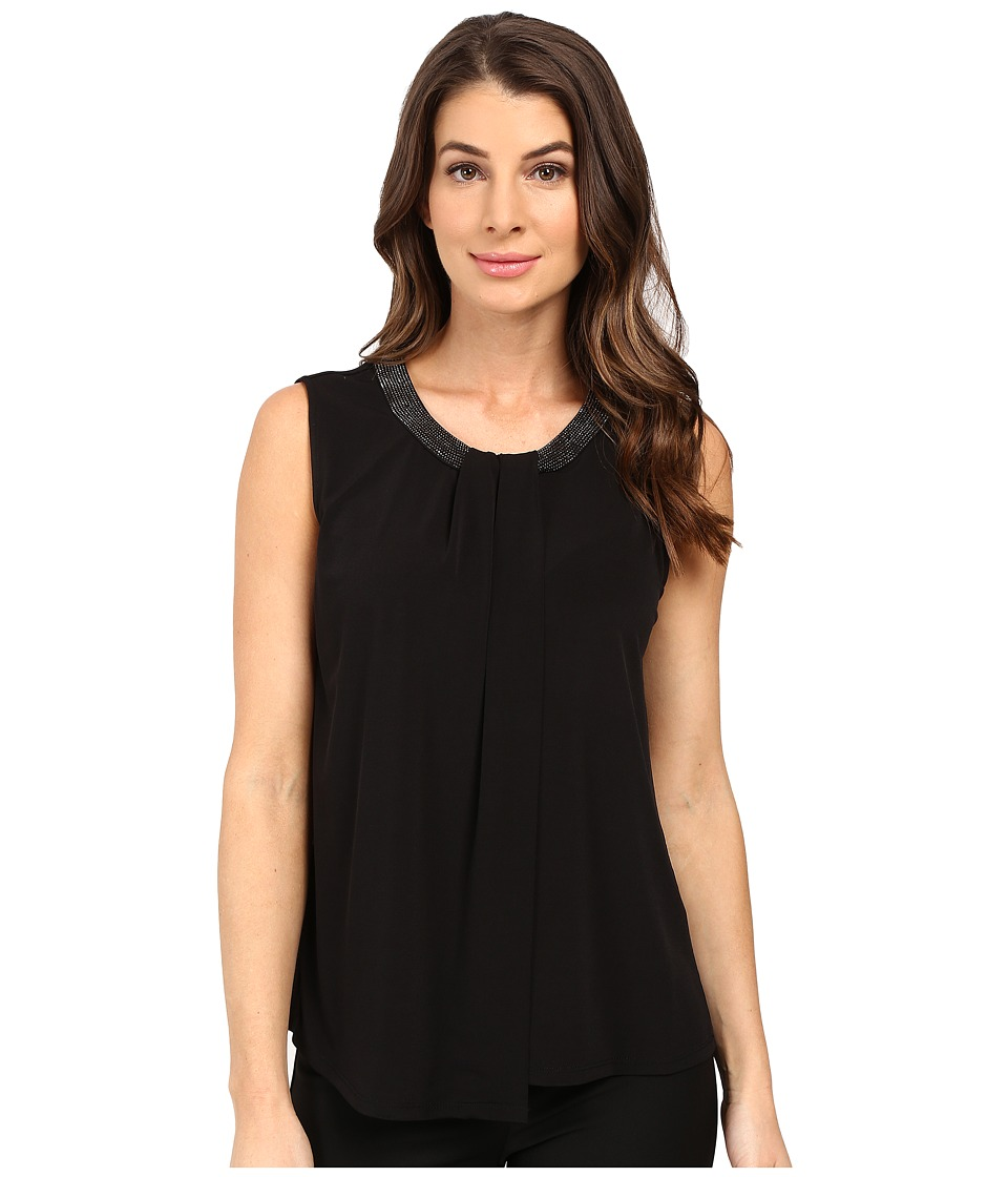 Calvin Klein - Sleeveless Top w/ Beads and Draping (Black) Women's Sleeveless