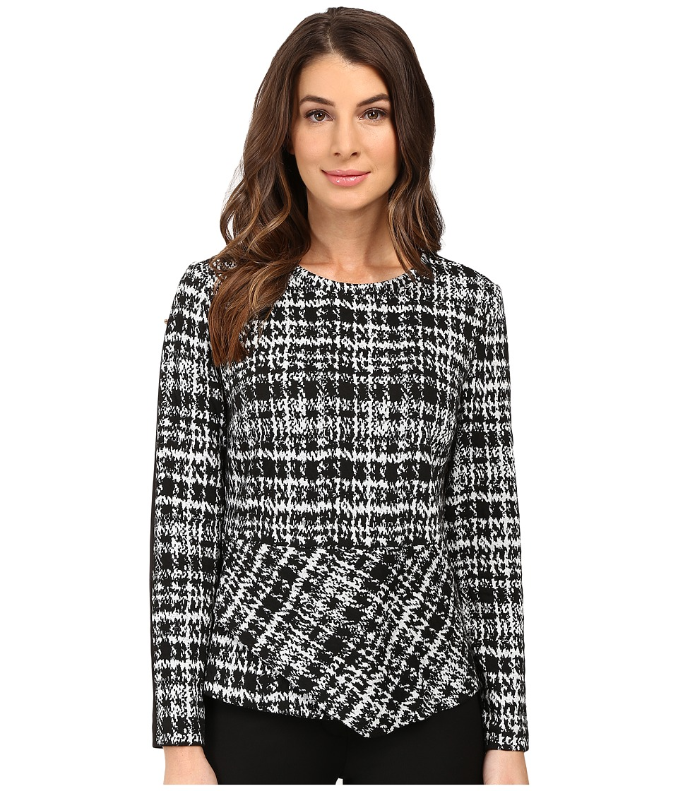 Calvin Klein - Angle Bottom Jacquard Top (Black Multi 4) Women's Blouse