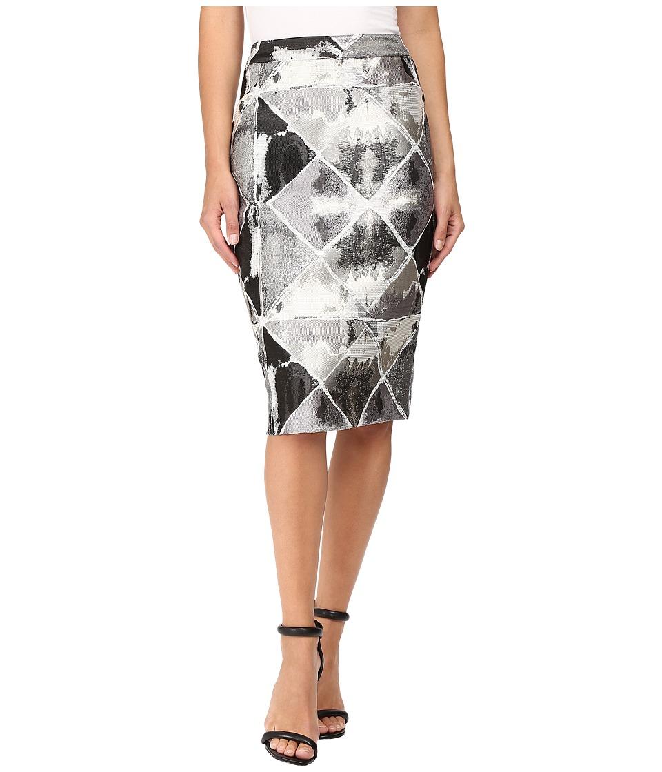 Calvin Klein - Metallic Jacquard Skirt (Black/Tin) Women's Skirt