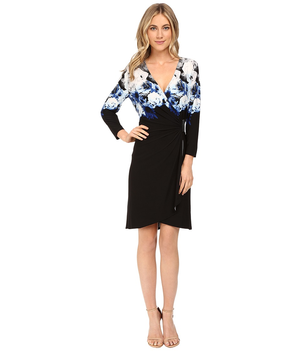 Calvin Klein - Printed Wrap Dress w/ Hardware (Tin Combo) Women's Dress