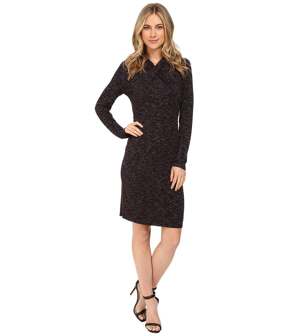 Calvin Klein - Space Dye Dress w/ Knot Neck Dress (Black/White) Women's Dress