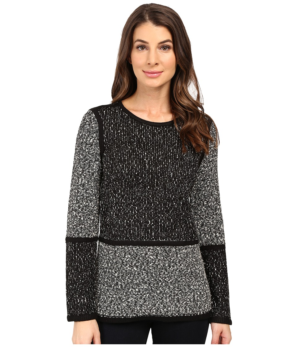 Calvin Klein - Long Sleeve Blocked Sweater (Black/White) Women's Sweater