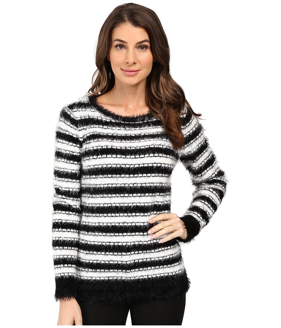 Calvin Klein - Stripe Eyelash Crew Neck Sweater (Black/White) Women's Sweater