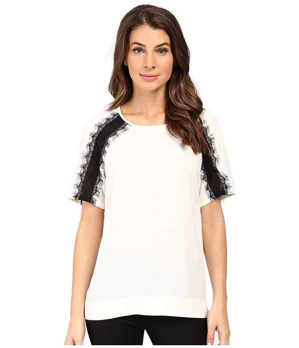 Calvin Klein - Short Sleeve Top w/ Lace Shoulder (Soft White) Women's Blouse