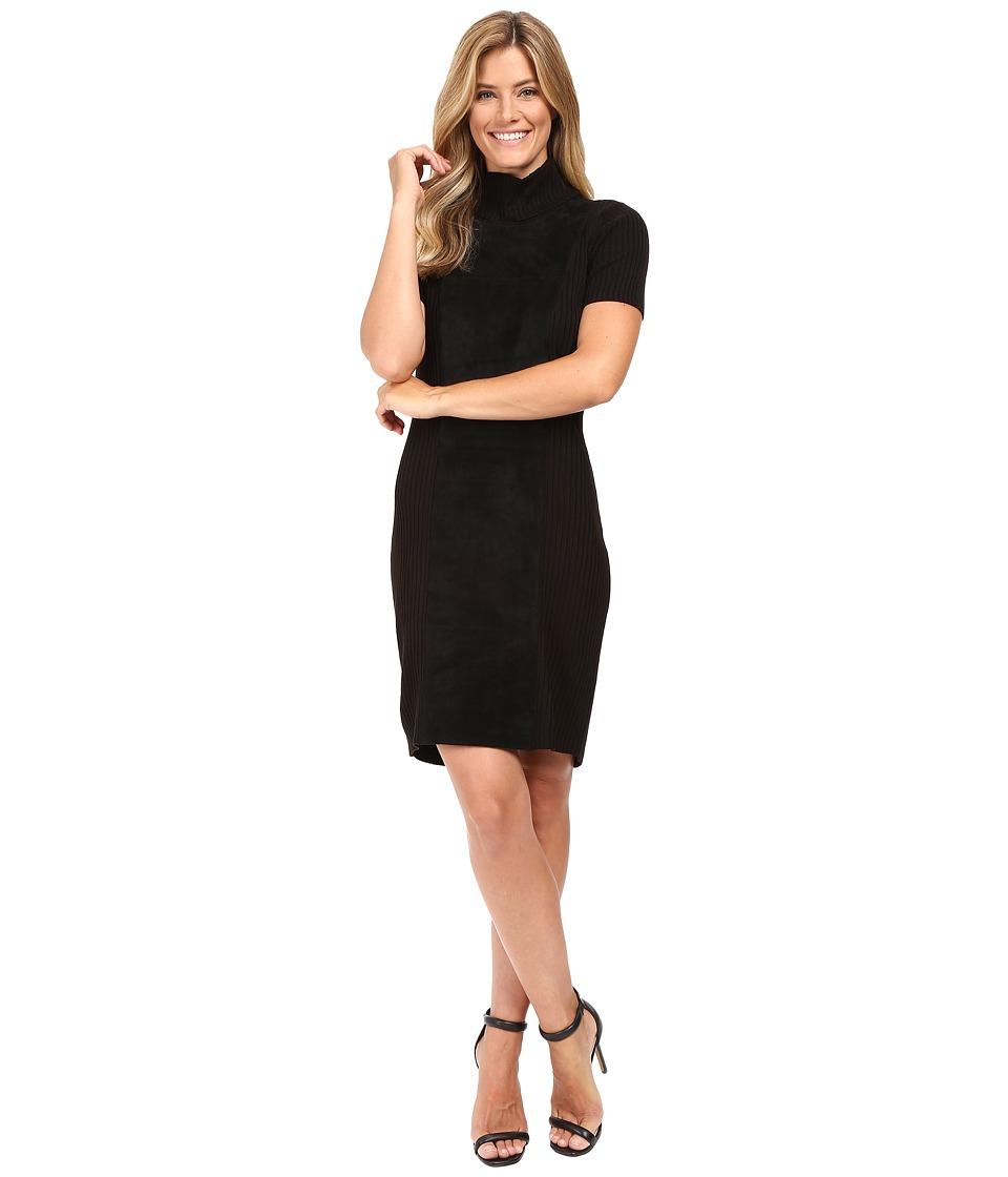 Calvin Klein - Suede Front Turtle Neck Dress (Black) Women's Dress
