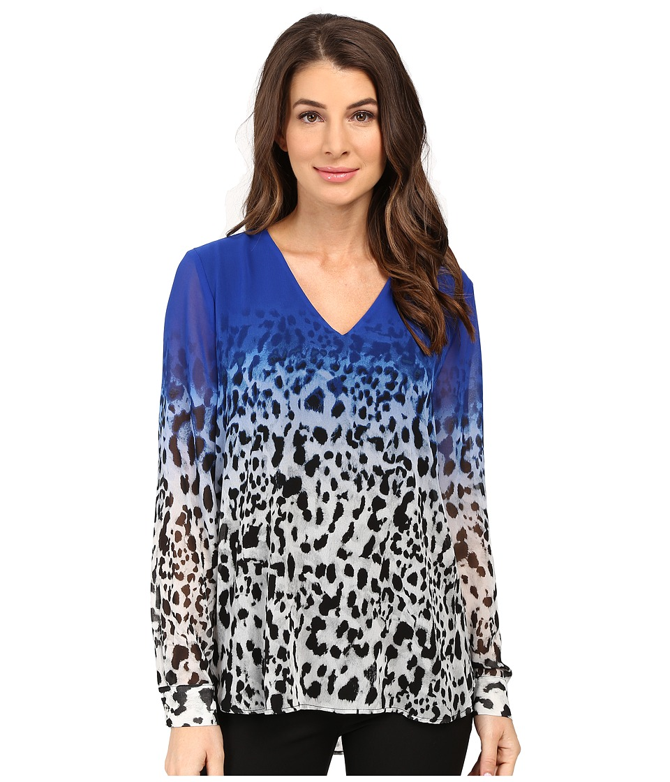 Calvin Klein - Printed High-Low V-Neck Top (Celestial/Soft White) Women's Blouse