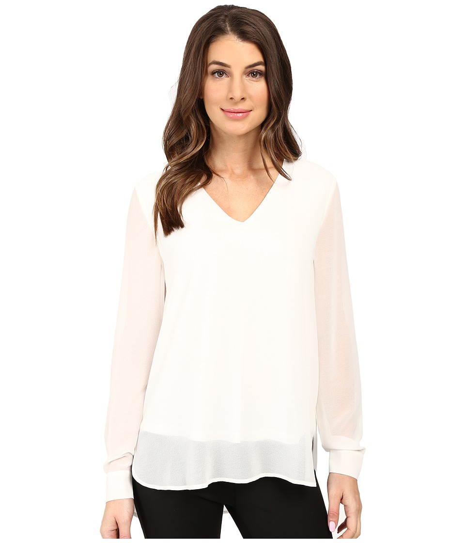 Calvin Klein - Solid High-Low V-Neck Top (Soft White) Women's Blouse