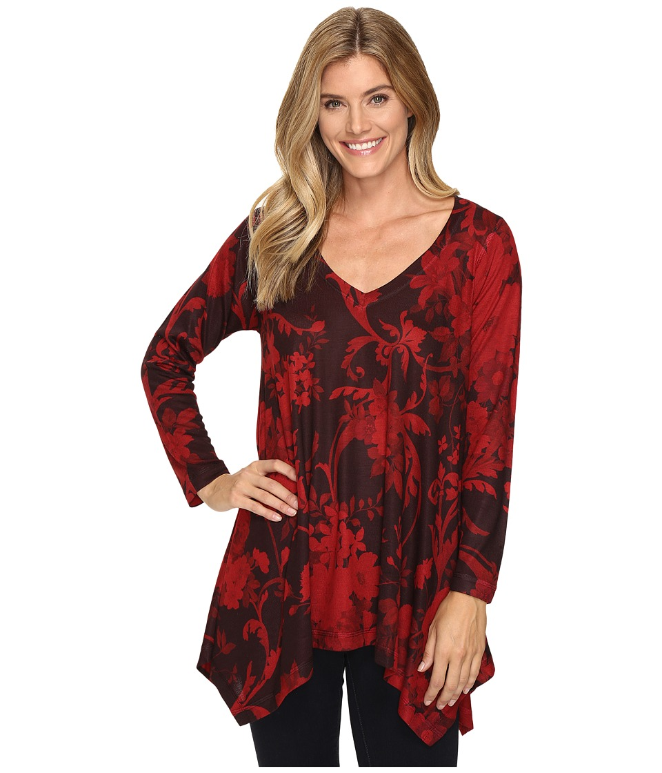 Nally & Millie - Red Floral Print Shark Bite Tunic (Multi) Women's Clothing