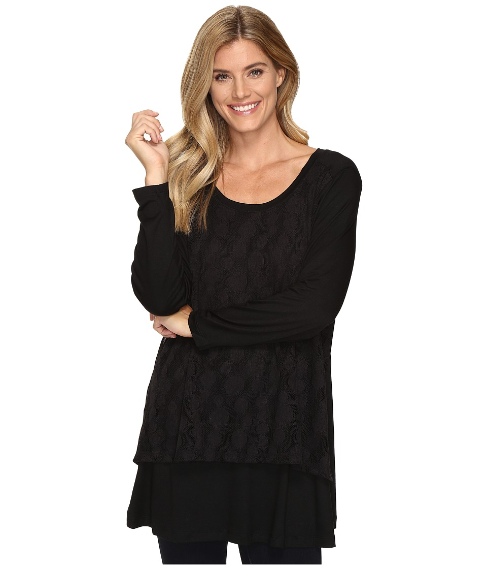 Nally & Millie - Lace Overlay Long Sleeve Tunic (Black) Women's Clothing