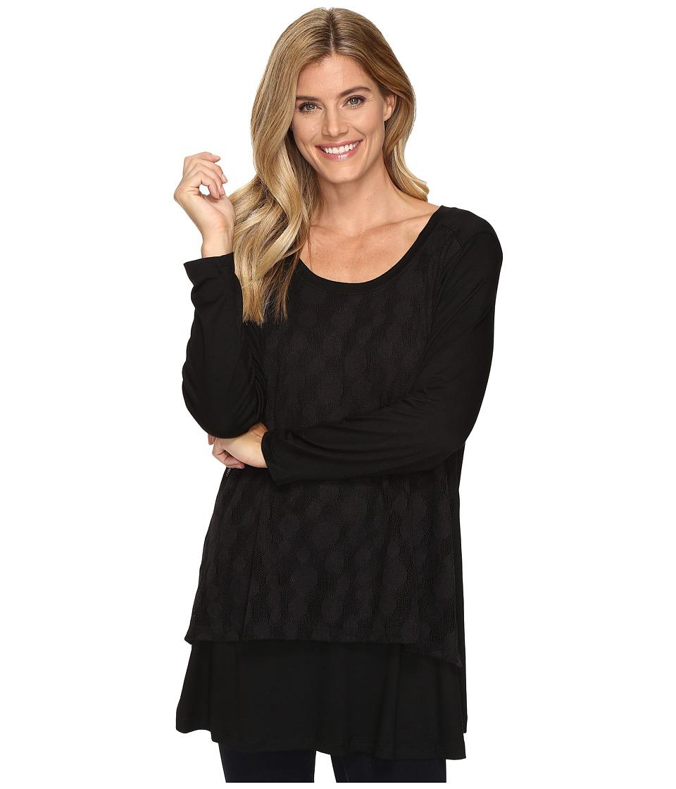 Nally & Millie - Lace Overlay Long Sleeve Tunic (Black) Women's Clothing