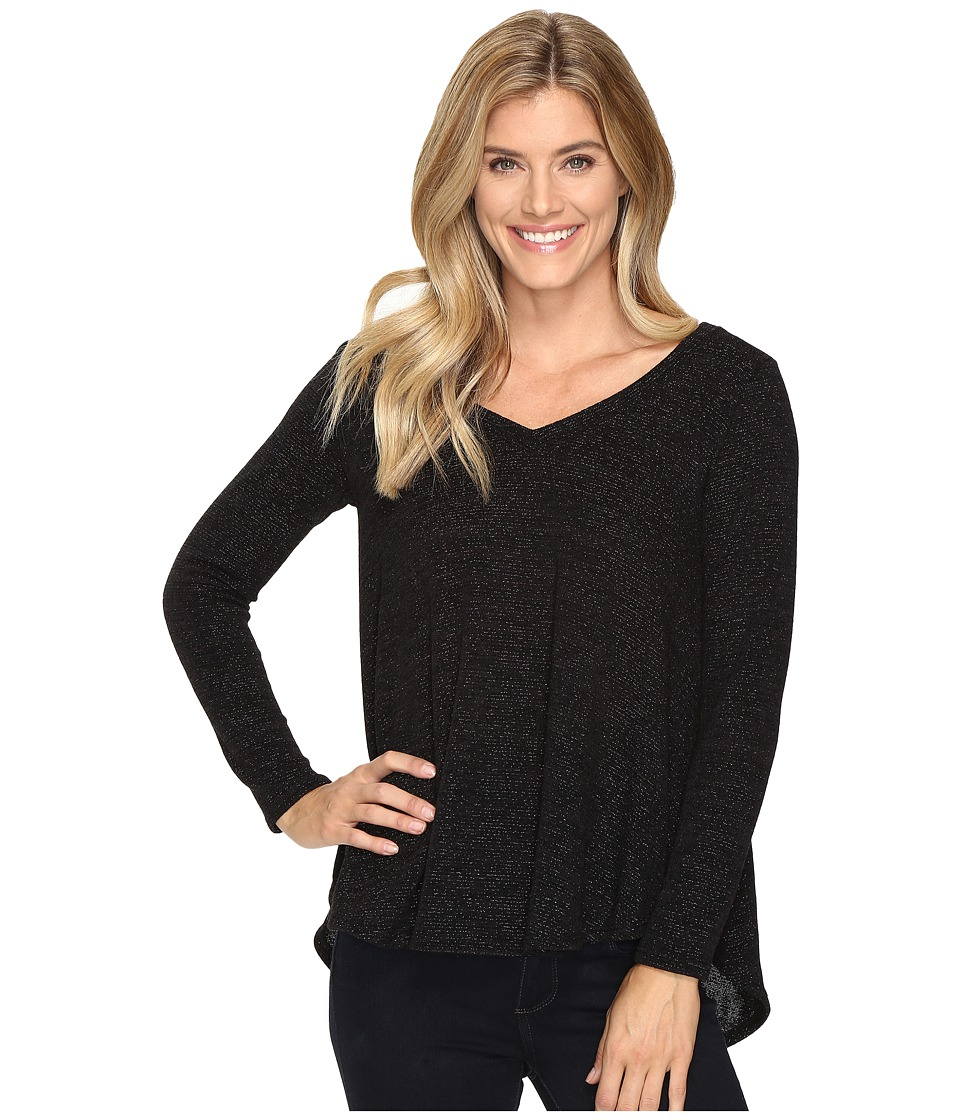 Nally & Millie - Black Glitter V-Neck Tunic with Back Pleat (Black) Women's Clothing