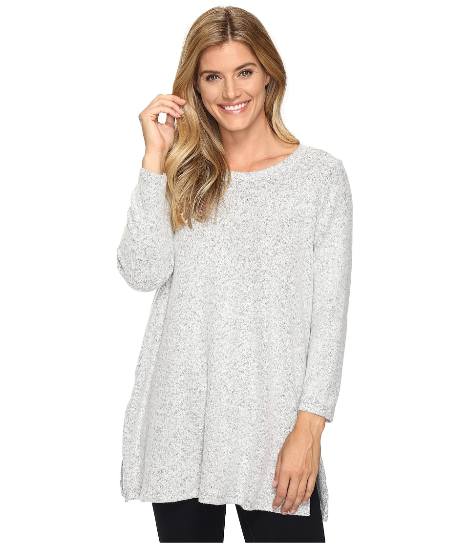 Nally & Millie - Brushed Long Sleeve Tunic with Side Slit (Heather Grey) Women's Clothing