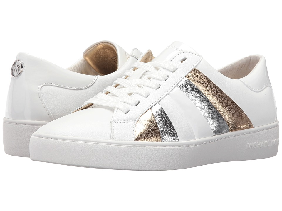 MICHAEL Michael Kors Conrad Sneaker Optic White-Pale Gold Nappa-Metallic Nappa-Patent Womens Lace up casual Shoes
