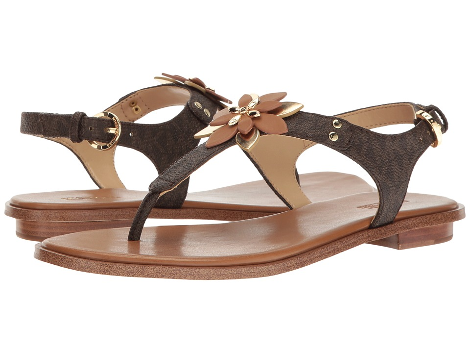 MICHAEL Michael Kors - Heidi Thong (Brown/Acorn Mini MK Logo PVC/Vachetta) Women's Sandals