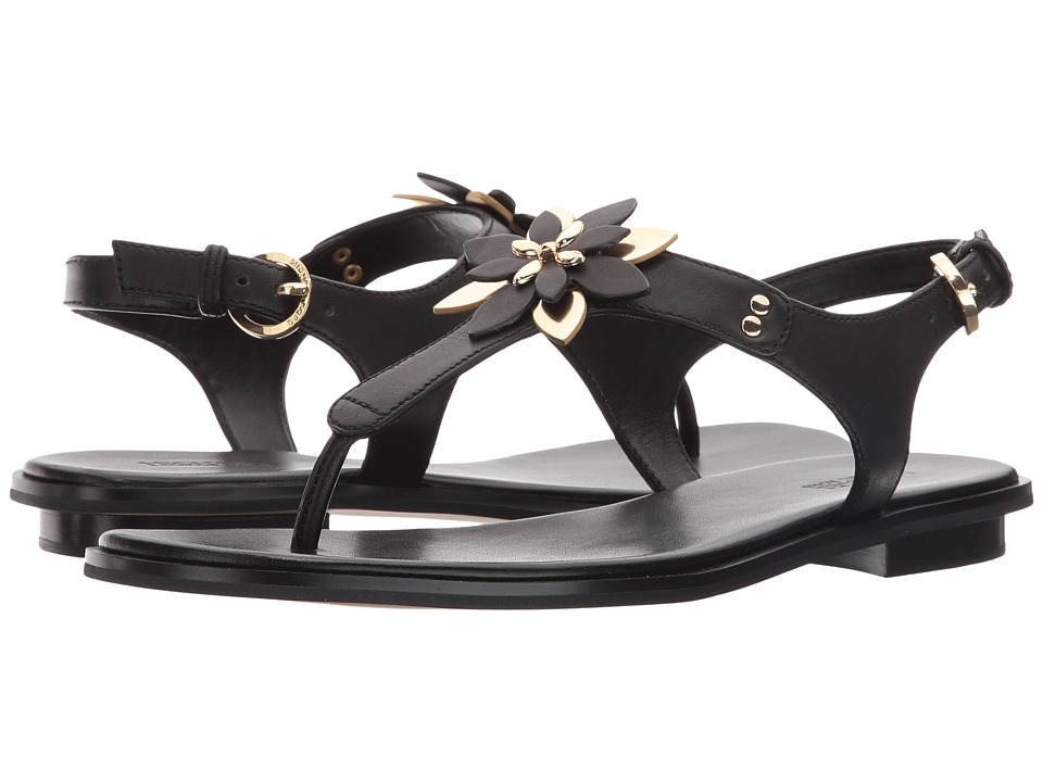 MICHAEL Michael Kors - Heidi Thong (Black Mini MK Logo PVC/Vachetta) Women's Sandals