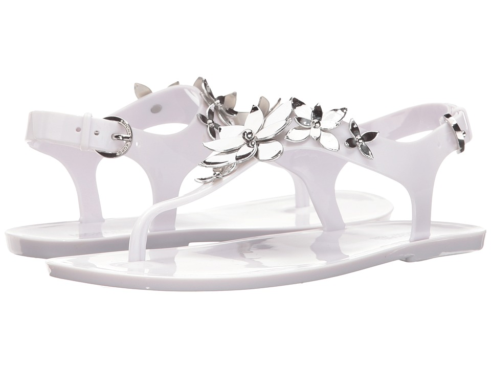 MICHAEL Michael Kors - Lola Jelly Thong (Optic White/Silver PVC) Women's Sandals