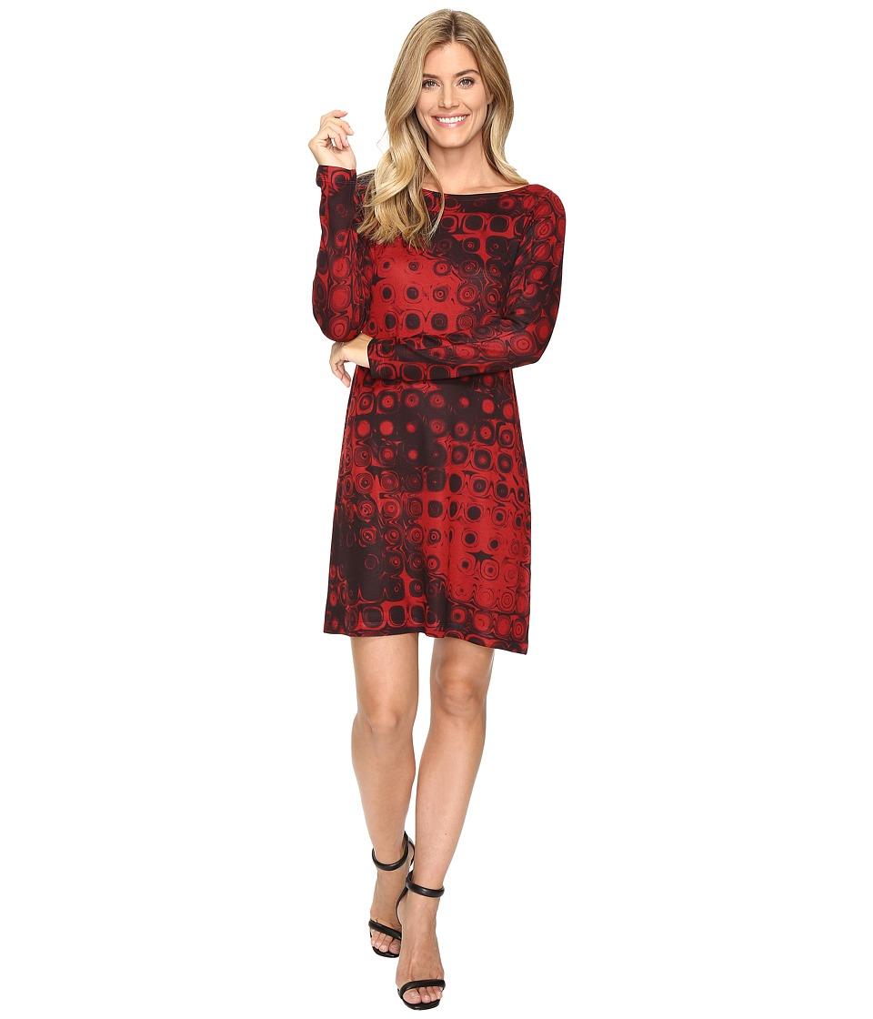 Nally & Millie Red Geo Print Long Sleeve Dress (Multi) Women