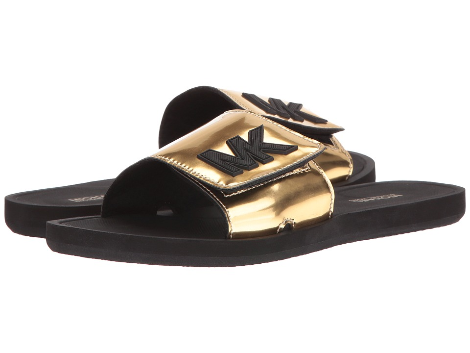 MICHAEL Michael Kors - MK Slide (Gold Mirror Metallic) Women's Sandals