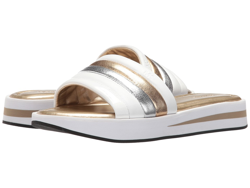 MICHAEL Michael Kors - Conrad Slide (Pale Gold/White Nappa/Metallic Nappa/Patent) Women's Slide Shoes