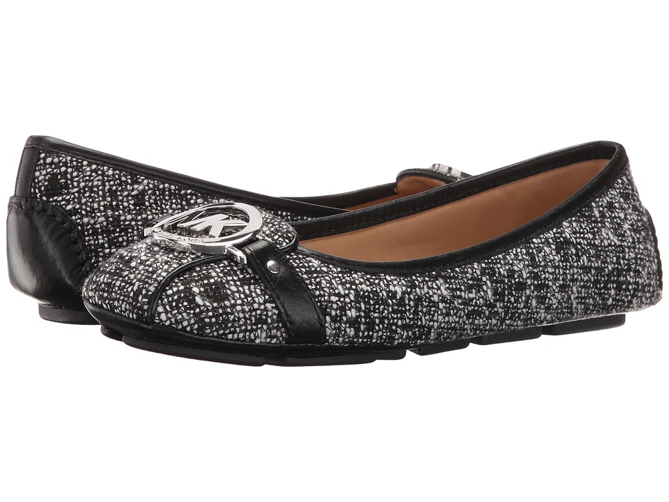 MICHAEL Michael Kors Fulton Moc Black-White Tweed-Nappa Womens Slip on  Shoes