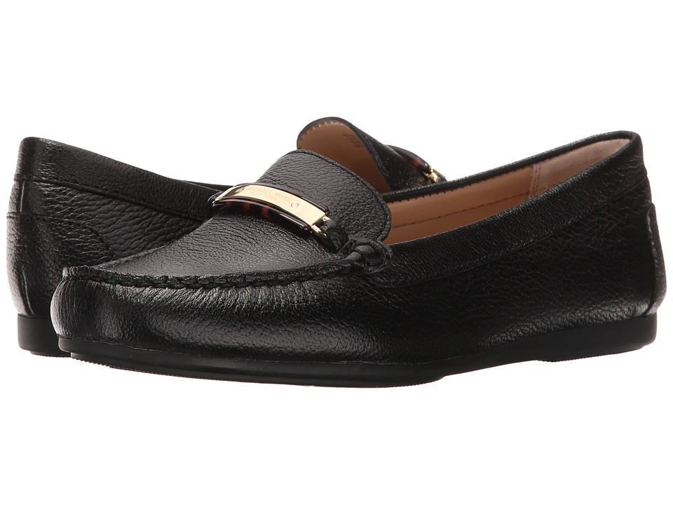 MICHAEL Michael Kors - Nadia Moc (Black Tumbled Leather) Women's Moccasin Shoes