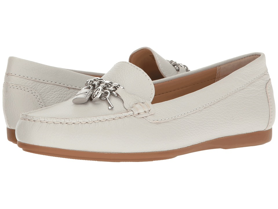 MICHAEL Michael Kors Suki Moc Optic White Tumbled Leather Womens Moccasin Shoes